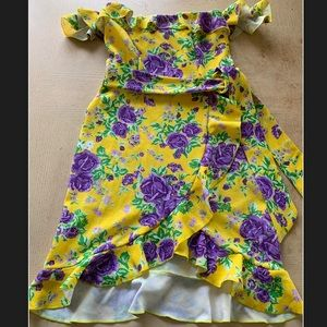 Nasty gal off shoulder floral dress yellow new